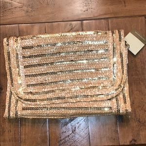 Straw and sequin Clutch